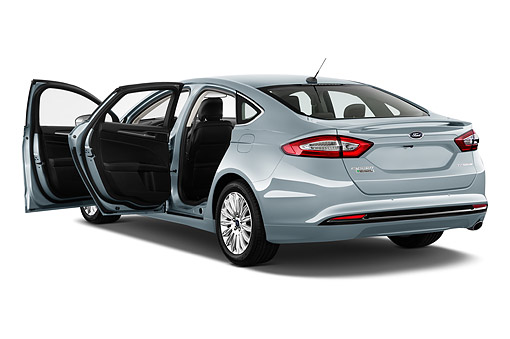 AUT 51 IZ2641 01 © Kimball Stock 2015 Ford Fusion Energi Plug-In Hybrid Titanium 4-Door Sedan 3/4 Rear View In Studio
