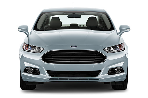 AUT 51 IZ2642 01 © Kimball Stock 2015 Ford Fusion Energi Plug-In Hybrid Titanium 4-Door Sedan Front View In Studio