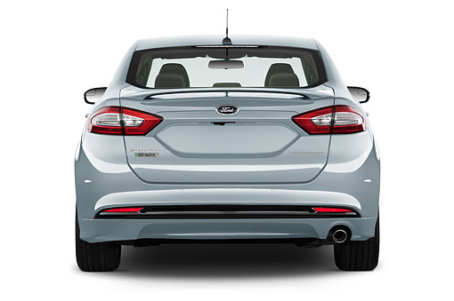 AUT 51 IZ2643 01 © Kimball Stock 2015 Ford Fusion Energi Plug-In Hybrid Titanium 4-Door Sedan Rear View In Studio