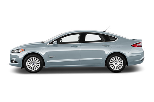 AUT 51 IZ2644 01 © Kimball Stock 2015 Ford Fusion Energi Plug-In Hybrid Titanium 4-Door Sedan Profile View In Studio