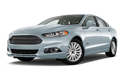 AUT 51 IZ2645 01 © Kimball Stock 2015 Ford Fusion Energi Plug-In Hybrid Titanium 4-Door Sedan Low 3/4 Front View In Studio