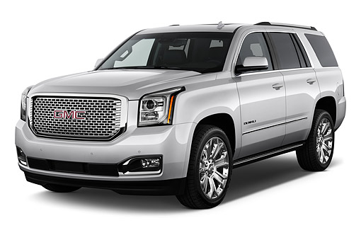 AUT 51 IZ2646 01 © Kimball Stock 2015 GMC Yukon Denali 2WD 5-Door SUV 3/4 Front View In Studio