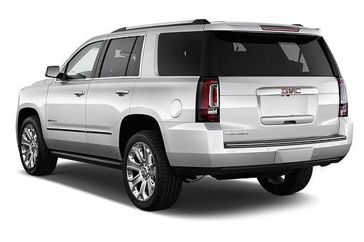 AUT 51 IZ2647 01 © Kimball Stock 2015 GMC Yukon Denali 2WD 5-Door SUV 3/4 Rear View In Studio