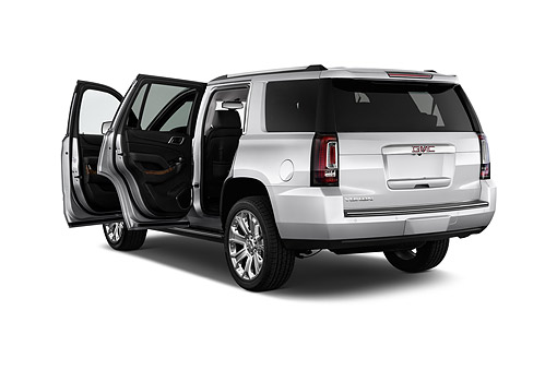 AUT 51 IZ2648 01 © Kimball Stock 2015 GMC Yukon Denali 2WD 5-Door SUV 3/4 Rear View In Studio