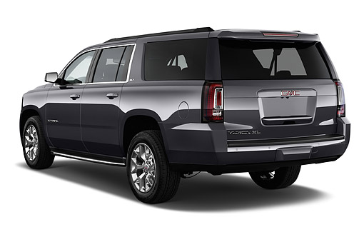 AUT 51 IZ2654 01 © Kimball Stock 2015 GMC Yukon XL 2WD Half Ton SLT 4SA 5-Door SUV 3/4 Rear View In Studio