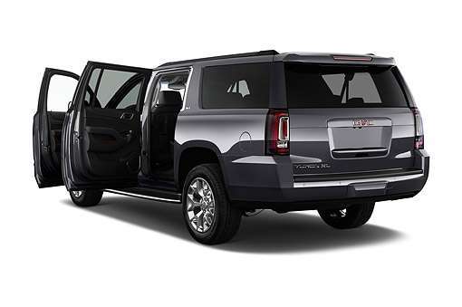 AUT 51 IZ2655 01 © Kimball Stock 2015 GMC Yukon XL 2WD Half Ton SLT 4SA 5-Door SUV 3/4 Rear View In Studio