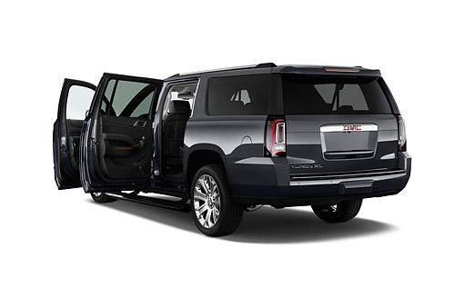AUT 51 IZ2663 01 © Kimball Stock 2015 GMC Yukon XL Denali 2WD 5-Door SUV 3/4 Rear View In Studio