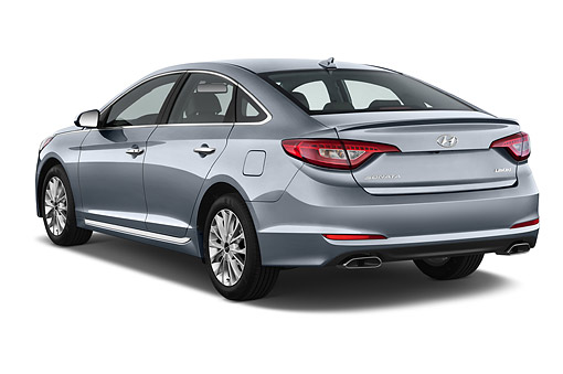 AUT 51 IZ2697 01 © Kimball Stock 2015 Hyundai Sonata Limited i4 AT 4-Door Sedan 3/4 Rear View In Studio