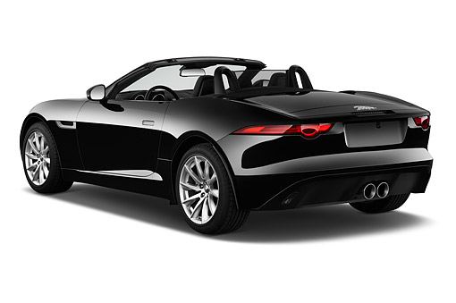 AUT 51 IZ2725 01 © Kimball Stock 2015 Jaguar F-Type Base 2-Door Convertible 3/4 Rear View In Studio