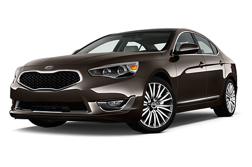 AUT 51 IZ2779 01 © Kimball Stock 2015 Kia Cadenza Base 4-Door Sedan Low 3/4 Front View In Studio
