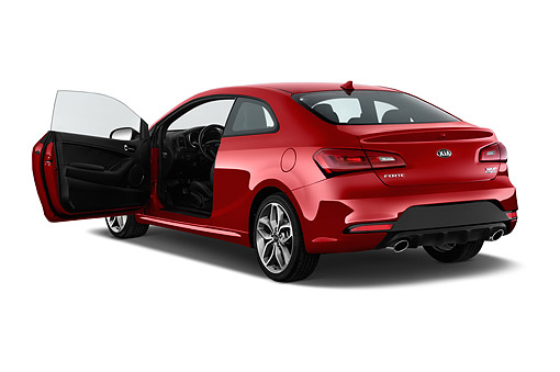 AUT 51 IZ2789 01 © Kimball Stock 2015 KIA Forte Koup SX AT 2-Door 3/4 Rear View In Studio