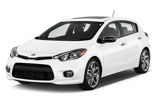 AUT 51 IZ2794 01 © Kimball Stock 2015 KIA Forte SX AT 5-Door Hatchback 3/4 Front View In Studio