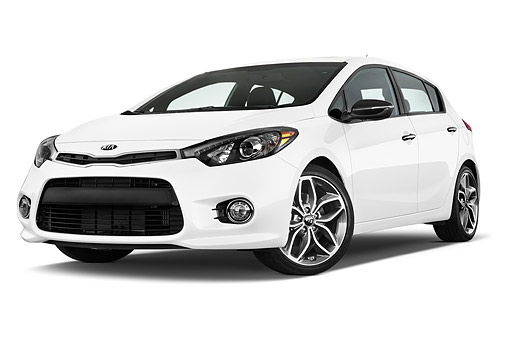 AUT 51 IZ2800 01 © Kimball Stock 2015 KIA Forte SX AT 5-Door Hatchback Low 3/4 Front View In Studio