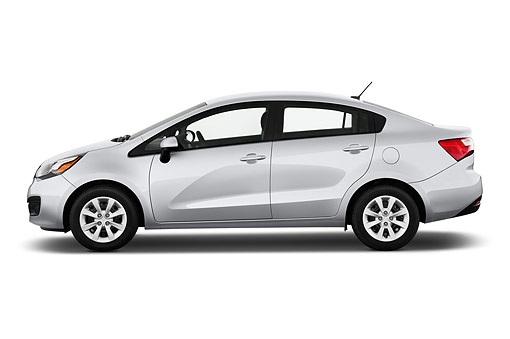 AUT 51 IZ2806 01 © Kimball Stock 2015 KIA Rio LX AT 4-Door Sedan Profile View In Studio
