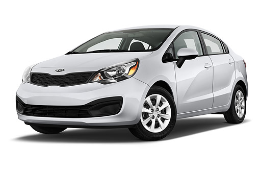 AUT 51 IZ2807 01 © Kimball Stock 2015 KIA Rio LX AT 4-Door Sedan Low 3/4 Front View In Studio