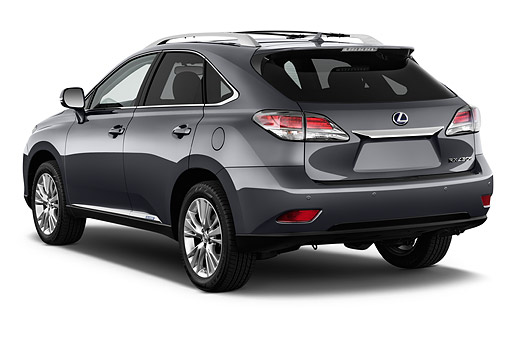 AUT 51 IZ2851 01 © Kimball Stock 2015 Lexus RX 450h Hybrid 5-Door SUV 3/4 Rear View In Studio
