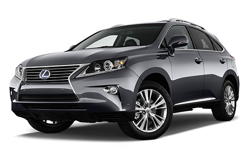 AUT 51 IZ2856 01 © Kimball Stock 2015 Lexus RX 450h Hybrid 5-Door SUV Low 3/4 Front View In Studio