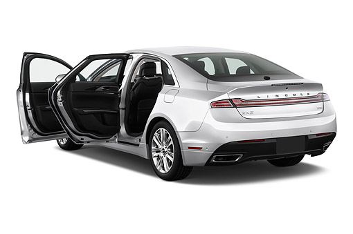 AUT 51 IZ2873 01 © Kimball Stock 2015 Lincoln MKZ Hybrid FWD 4-Door Sedan 3/4 Rear View In Studio