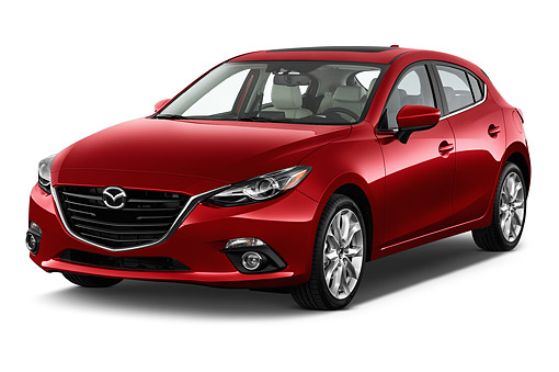AUT 51 IZ2885 01 © Kimball Stock 2015 Mazda 3i Grand Touring AT 5-Door Hatchback 3/4 Front View In Studio