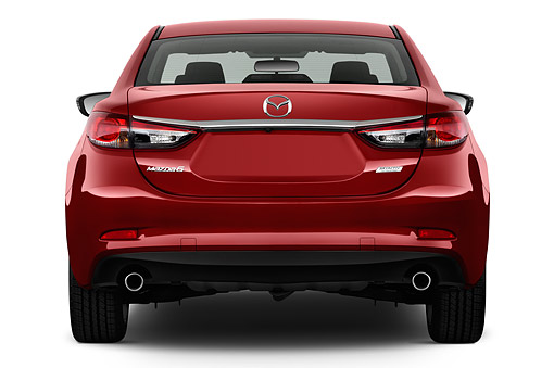 AUT 51 IZ2903 01 © Kimball Stock 2015 Mazda 6i Touring Auto 4-Door Sedan Rear View In Studio