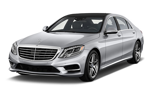 AUT 51 IZ2913 01 © Kimball Stock 2015 Mercedes Benz S-Class 550 4-Door Sedan 3/4 Front View In Studio