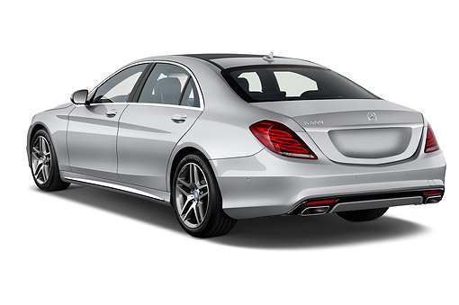 AUT 51 IZ2914 01 © Kimball Stock 2015 Mercedes Benz S-Class 550 4-Door Sedan 3/4 Rear View In Studio