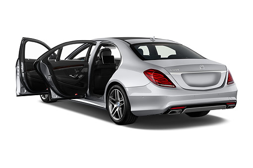 AUT 51 IZ2915 01 © Kimball Stock 2015 Mercedes Benz S-Class 550 4-Door Sedan 3/4 Rear View In Studio