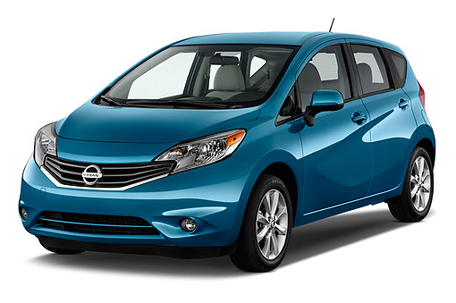 AUT 51 IZ2941 01 © Kimball Stock 2015 Nissan Versa Note 1.6s Plus CVT 5-Door Hatchback 3/4 Front View In Studio