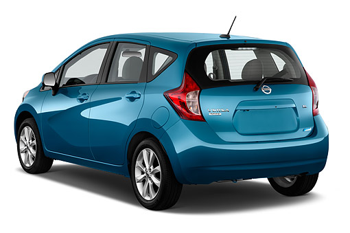 AUT 51 IZ2942 01 © Kimball Stock 2015 Nissan Versa Note 1.6s Plus CVT 5-Door Hatchback 3/4 Rear View In Studio