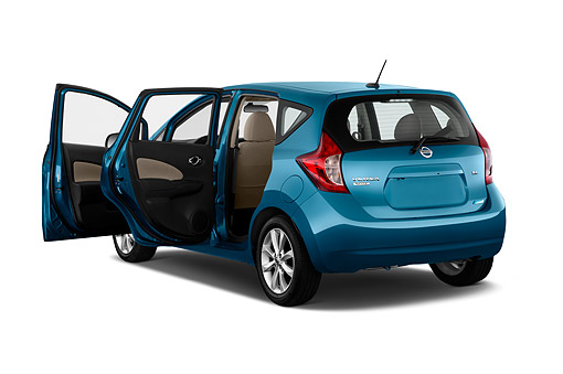 AUT 51 IZ2943 01 © Kimball Stock 2015 Nissan Versa Note 1.6s Plus CVT 5-Door Hatchback 3/4 Rear View In Studio