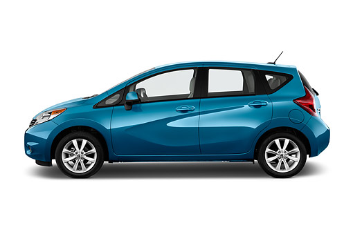 AUT 51 IZ2946 01 © Kimball Stock 2015 Nissan Versa Note 1.6s Plus CVT 5-Door Hatchback Profile View In Studio