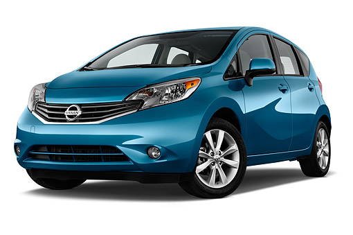 AUT 51 IZ2947 01 © Kimball Stock 2015 Nissan Versa Note 1.6s Plus CVT 5-Door Hatchback Low 3/4 Front View In Studio