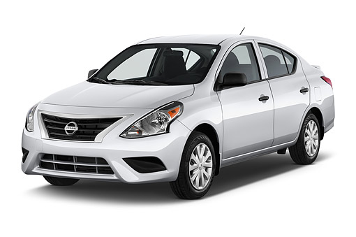 AUT 51 IZ2948 01 © Kimball Stock 2015 Nissan Versa Sedan 1.6 SV CVT 4-Door 3/4 Front View In Studio