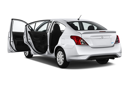 AUT 51 IZ2950 01 © Kimball Stock 2015 Nissan Versa Sedan 1.6 SV CVT 4-Door 3/4 Rear View In Studio