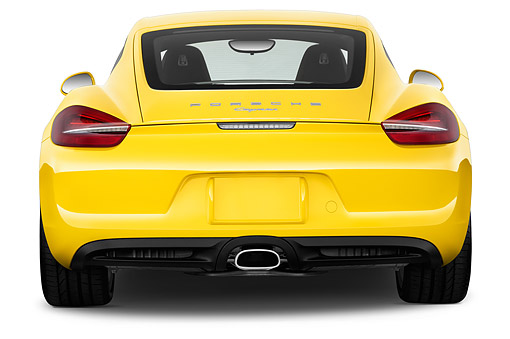AUT 51 IZ2966 01 © Kimball Stock 2015 Porsche Cayman Base 2-Door Coupe Rear View In Studio