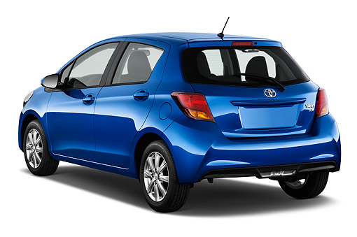 AUT 51 IZ2984 01 © Kimball Stock 2015 Toyota Yaris LE AT 5-Door Hatchback 3/4 Rear View In Studio