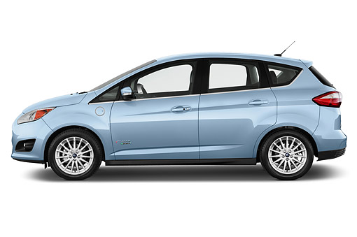AUT 51 IZ3018 01 © Kimball Stock 2015 Ford C Max Energi SEL 4-Door Mini Van Profile View In Studio