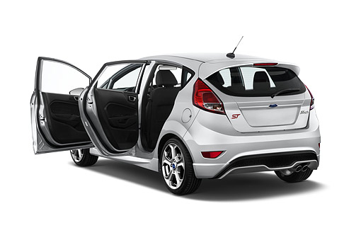 AUT 51 IZ3028 01 © Kimball Stock 2015 Ford Fiesta ST 5-Door Hatchback 3/4 Rear View In Studio
