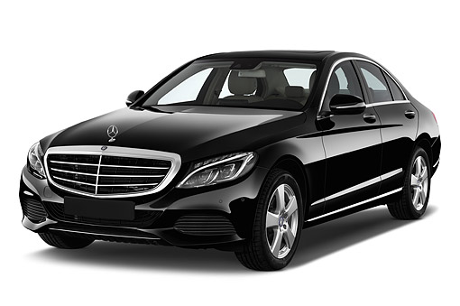 AUT 51 IZ3049 01 © Kimball Stock 2015 Mercedes Benz C-Class C300 Luxury Sedan 4-Door 3/4 Front View In Studio