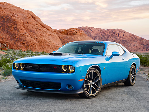 AUT 51 RK0068 01 © Kimball Stock 2015 Dodge Challenger Shaker Blue By Snowy Mountains And Trees