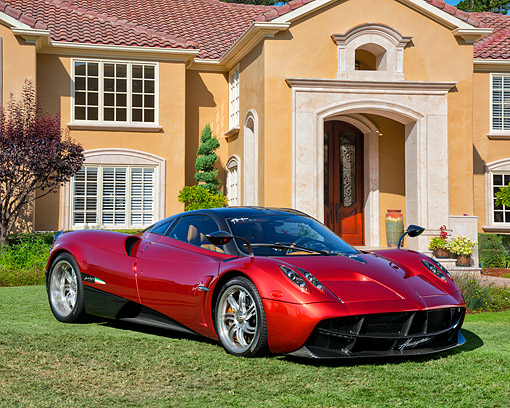 AUT 51 RK0087 01 © Kimball Stock 2015 Pagani Huayra Red 3/4 Front View By Mansion