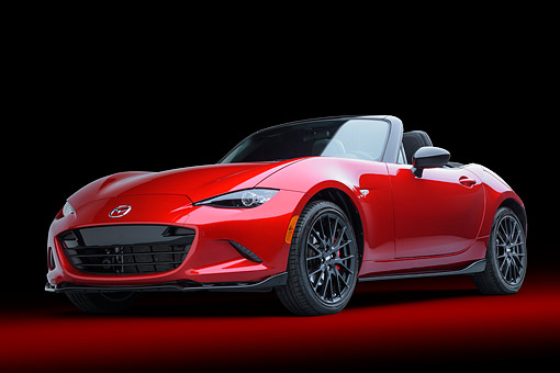 AUT 52 BK0030 01 © Kimball Stock 2016 Mazda MX-5 Miata Red 3/4 Front View In Studio