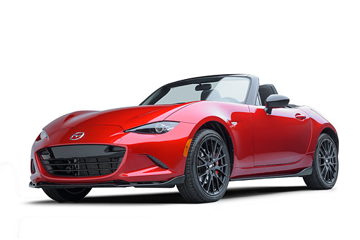 AUT 52 BK0031 01 © Kimball Stock 2016 Mazda MX-5 Miata Red 3/4 Front View In Studio
