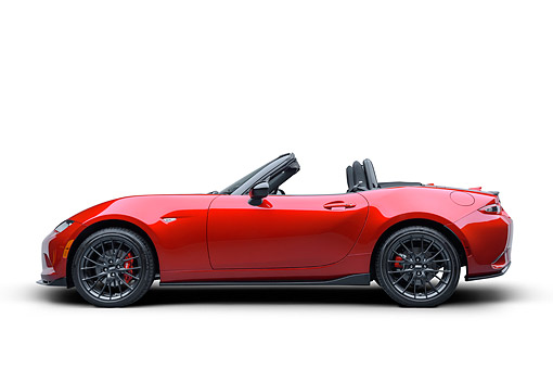 AUT 52 BK0032 01 © Kimball Stock 2016 Mazda MX-5 Miata Red Profile View In Studio