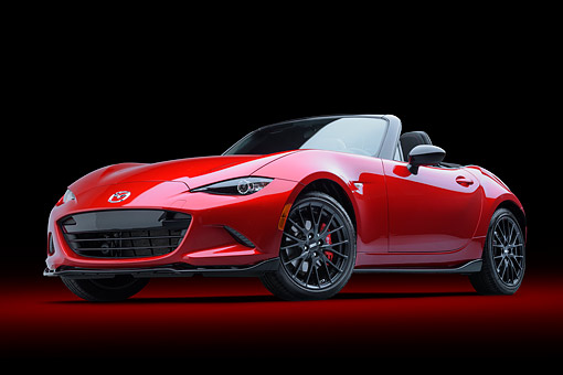 AUT 52 BK0033 01 © Kimball Stock 2016 Mazda MX-5 Miata Red 3/4 Front View In Studio