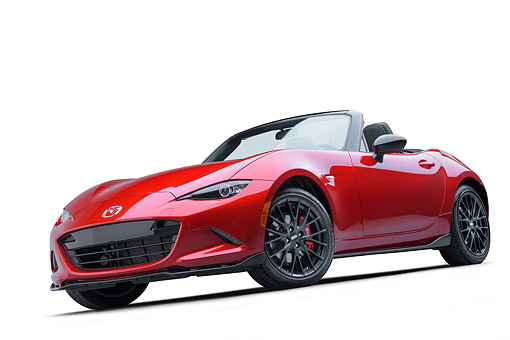 AUT 52 BK0034 01 © Kimball Stock 2016 Mazda MX-5 Miata Red 3/4 Front View In Studio