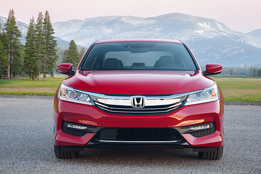 AUT 52 BK0044 01 © Kimball Stock 2016 Honda Accord Sport Sedan Front View By Trees And Mountains