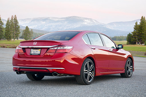AUT 52 BK0045 01 © Kimball Stock 2016 Honda Accord Sport Sedan 3/4 Rear View By Mountains And Trees