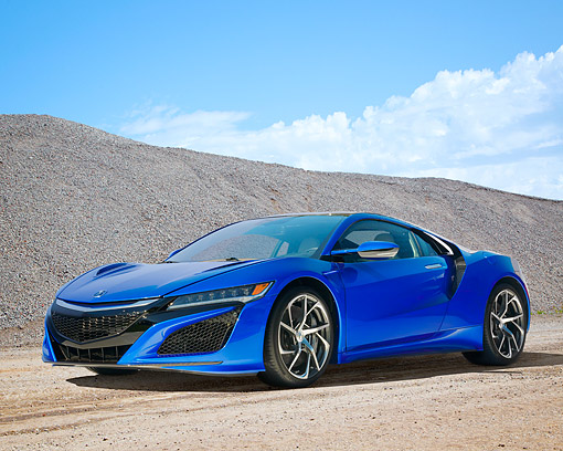 AUT 52 RK0001 01 © Kimball Stock 2016 Acura NSX Hybrid Blue 3/4 Front View By Hill And Clouds