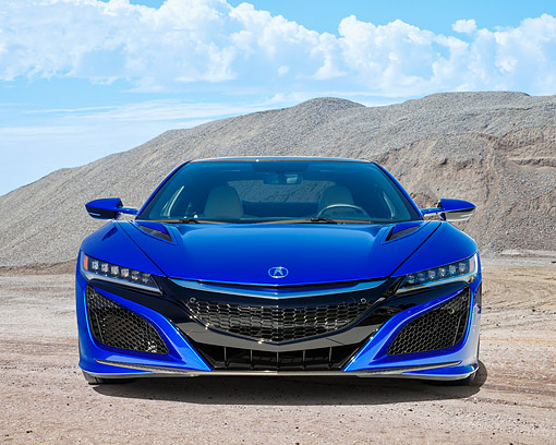 AUT 52 RK0002 01 © Kimball Stock 2016 Acura NSX Hybrid Blue Front View By Hill And Clouds